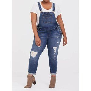 Torrid Plus Vintage Stretch Jeans Cropped Overalls